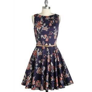 Navy Floral Modcloth Luck Be A Lady Dress